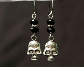 Skull Earrings for Goth fashion or Halloween