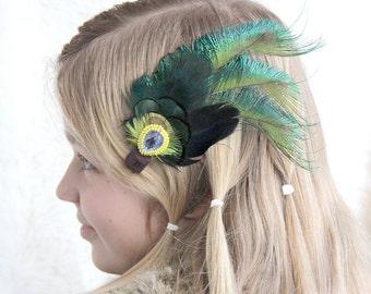 "Green Hair Clip Feather Hair Clip ""Princess"" Green Elven Feather Hair Fascinator Wedding Hair Clip Hair Extension Christmas Hair Clip"