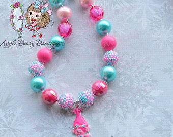 Pink Trolls Necklace Girl poppy Trolls Necklace pink poppy Trolls Chunky Necklace Trolls Bubblegum Necklace