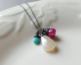 Pearl Chalcedony Necklace, Ruby Moonstone Necklace, Moonstone Jewelry, Turquoise Jewelry, Sterling Silver Necklace, Gemstone Necklace, Gift