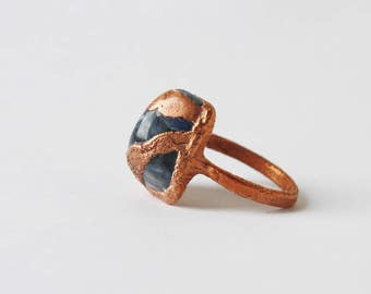 Big ring, Chunky ring, Large Lapis lazuli stone ring, Copper ring, Electroformed