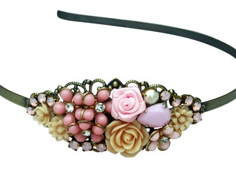 Pink Collage Headband, Vintage Collage Headband, Flowergirl Pink Collage Headband