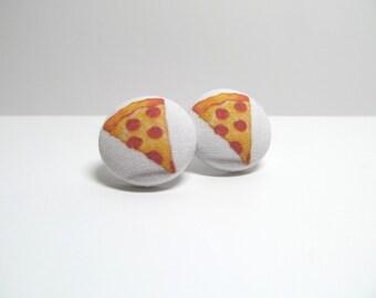 Pizza Emoji Fabric Button Earrings