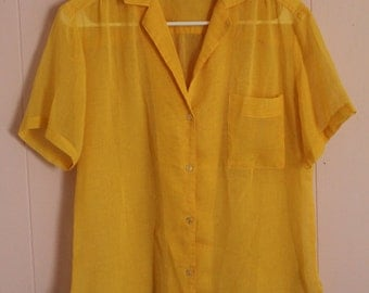 Vintage 80's Women's Mustard Yellow Sheer Button-up Short Sleeve Blouse