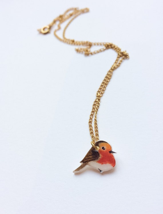 Hand drawn Robin necklace