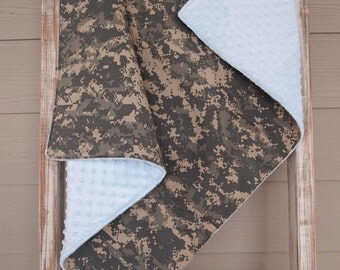 READY TO SHIP - Army Acu Theme Military Baby Blanket