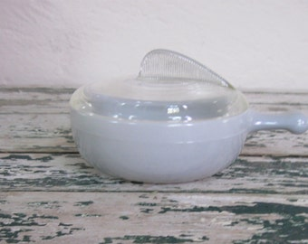Vintage Mid Century Soup Bowl with Handle and Cover// Glasbake// Pale Grey