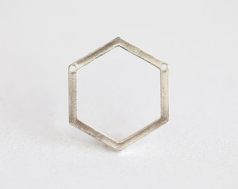 Sterling Silver Hexagon Connector 1-1 - 925 sterling silver, hexagon frame silhouette spacer link, jump ring, honeycomb