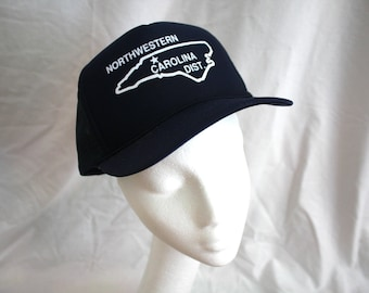 Retro North Carolina Northwestern Dist. Mesh Trucker Cap. Mesh Snapback North Carolina Baseball Hat. Retro NC Trucker Mesh Trucker Cap