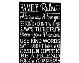 Family rules sign - family sign - gallery wall decor - photo wall sign - country home decor - gift for Mom - Mothers day sign - Wall art