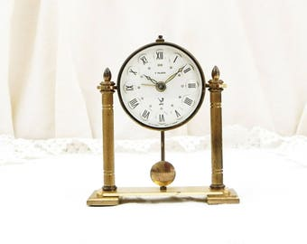 Working Vintage Mid Century Gold 1950s Rare French 7 Jewels Mechanical Ornate Alarm Clock Made in France by Jaz, Wind-up Metal Bedside Clock