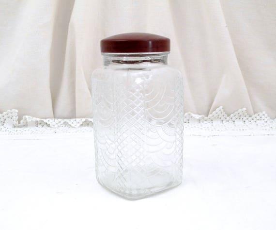 Square Vintage Art Deco Design Pattern Glass Jar with Bakelite Lid from France, French, Retro, Kitchen, 1930, Transparent, Glassware, Home