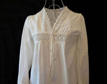Antique, Edwardian, Broderie Anglaise, Eyelet Blouse