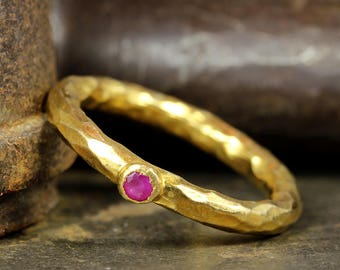 Ruby Stackable Ring, 24K Yellow Gold over 925 Solid Sterling Silver, Ancient Roman Art Handcrafted Hammered Designer Stack, Stacking Ring