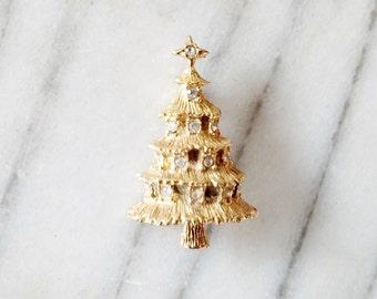 Vintage Clear Rhinestone Gold Christmas Tree Brooch