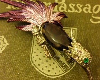 Gemstone and Paste Vintage Costume Jewellery Bird Brooch