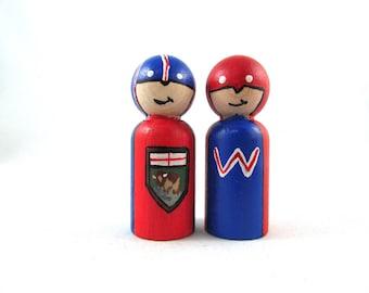 Manitoba Super Hero Wooden Peg Doll - Winnipeg, MB Super Hero Wooden Peg Doll - Wooden Peg Doll Super Hero - Canadian Superheroes