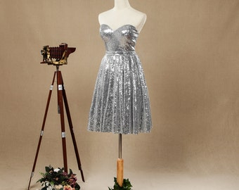 A-line Sweetheart Sequined Bridesmaid Dresses,Knee-length Silver Open Back with Ruching