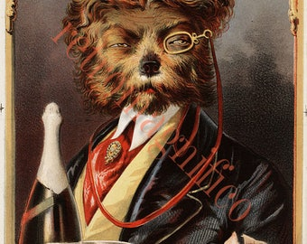 Anthropomorphic Dog with monocle image from 1800's digital download art print, for framing, collage, mixed media, altered art, Victorian