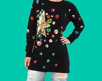 Sequin Sweater/ Sequin Stars/ Colorful Sequin Sweater Tunic/ Adrienne Vittadini Sweater/ Angora Sweater/ Polka Dot Sequin Sweater/ Gold Star