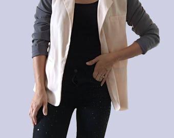 Silky Blazer/ Pink Silky Jacket/ Pink Silky Blazer/ Gray Silky Blazer/ Two Toned Blazer/ Light Pink Blazer/ Grey Silky Jacket/ Pink Top