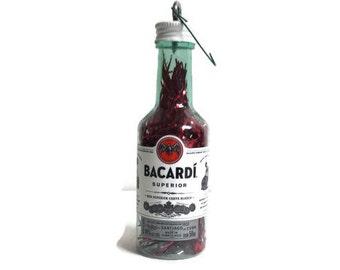 Bacardi, Bacardi Rum Ornament, Christmas Ornament, Miniature Bacardi bottle,  Handmade Ornament, liquor bottle
