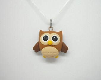 Brown owl polymer clay charm - stitch marker - necklace
