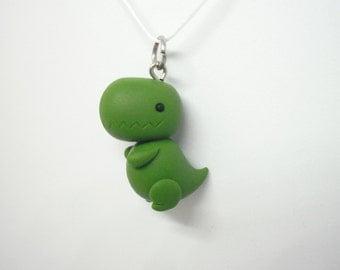 Cute chubby Tyrannosaurus Rex T-Rex polymer clay charm - stitch marker - necklace