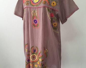 Hand Embroidered Dress Cotton Dress In Brown, Short Sleeve Dress, Mini Dress