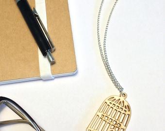 Wooden birdcage necklace, Birdwatcher gift, Bird necklace, Vegan jewellery, Vegan gift, Bird lover gift, Vegan necklace, Bird jewellery