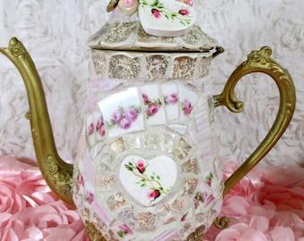Pink ROSES Teapot, MOSAIC Teapot, Decorated TEAPOT, Shabby Teapot, Ornate Teapot, Mosaic Art!!!