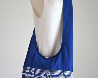 Winter Blue Greek Key Crossbody Bag Shopper Shoulder Boho Hobo Messenger Bag SGC840