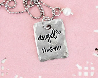 Angel mom necklace, angel mom, personalized jewelry, personalized necklace, name necklace, miscarriage, loss, baby loss, miscarriage gift