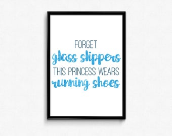 This Princess Wears Running Shoes, Fitness Motivation, Motivational Poster, Inspirational Wall Art, Fitness Gifts, Running Gifts