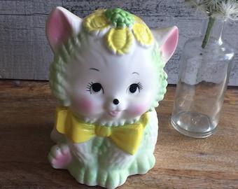 Vintage Baby Planter Vase Kitty Cat - Shabby Vintage Baby Shower Decor - Baby Kitten - 1950's Baby Shower Decor - Baby Shower Centerpiece