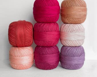 lace weight Linen yarn  - yarn mix for crochet, knitting in purple pink colors