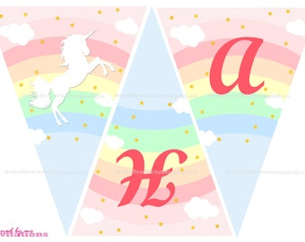 Magical Unicorn and rainbow - HAPPY BIRTHDAY  banner - DIY Printing - Instant Download