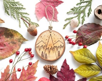 """Personalized Mountain Wood Slice Ornament - SMALL 2.25"""", Natural Wood-Burned Ornament, Rustic Customized Wood Ornament, Sustainable"""