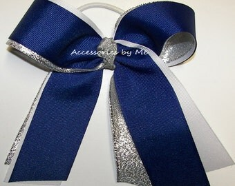 Cheerleader Bow, Blue Cheer Bow, Royal Blue White Silver Ribbon Ponytail Holder, Football Volleyball Basketball Soccer Bulk Cheap Price Bows