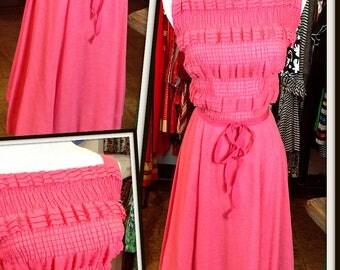 Vintage Pink Cotton Dress FREE SHIPPING