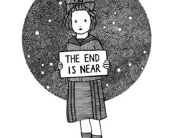 The End is Near, black and white print, illustration, coloring page, Victorian, poster, sailor, 20's,