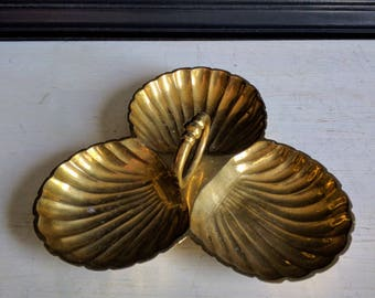 Vintage Brass Triple Shell Solid  Serving Dish With Center Handle