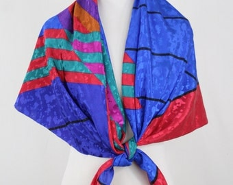 1980s Color Block Scarf Material Large Square
