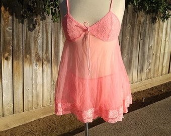 Sheer Neon Melon Nylon Chiffon Peignoir Babydoll Panties Double Nylon Gusset Pin Up Negligee Lingerie