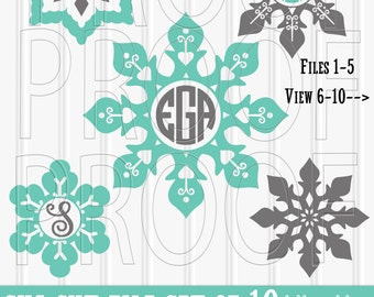 Monogram SVG Files Set of 10 cut files includes svg/png/jpg format Commercial use ok snowflake monogram svg snowflake svg christmas monogram