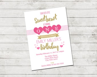Valentines Birthday Party Invitation - Little Sweetheart Invitation - Hearts - Valentine Birthday Stripes Pink Black Gold - Printable