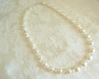 Swarovski Coin Pearl Crystal Bridal Necklace- Swarovski Pearl Crystal Bridal Necklace- Swarovski Pearl Necklace- Item 564