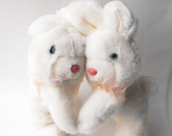 1980s Hugging Bunnies Easter Gift White Rabbits Cuddle Couple Siblings Sisters Dancing Plush Vintage Mervyn's Spring Stuffed Animal Pair Toy