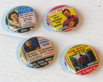 Set of Four Vintage Folk/Country Music Album Cover Pin Back Buttons-1 inch