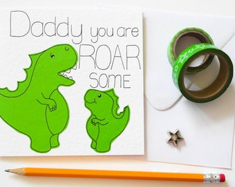 Fathers Day card, Daddy you are ROAR some Birthday card, Roarsome Father's Day Card, Cute dinosaur father's day card, Handmade Greeting card